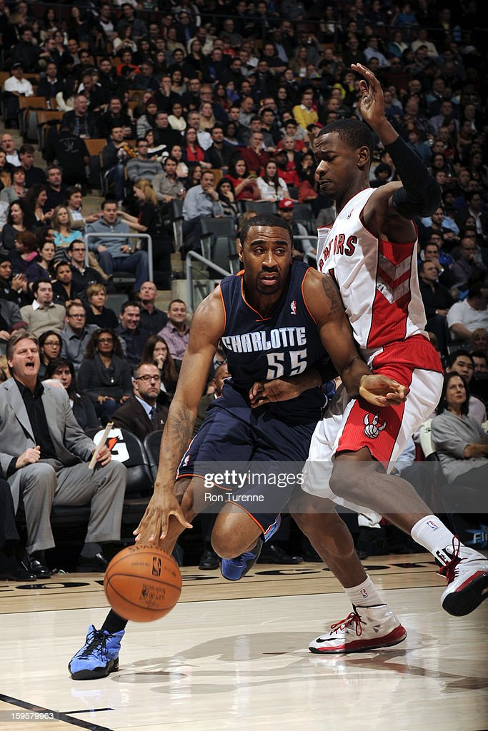 Reggie Williams #55 of the Charlotte Bobcats drives to the basket against the Toronto Raptors on January 11, 2013 at the Air Canada Centre in Toronto, Ontario, Canada.