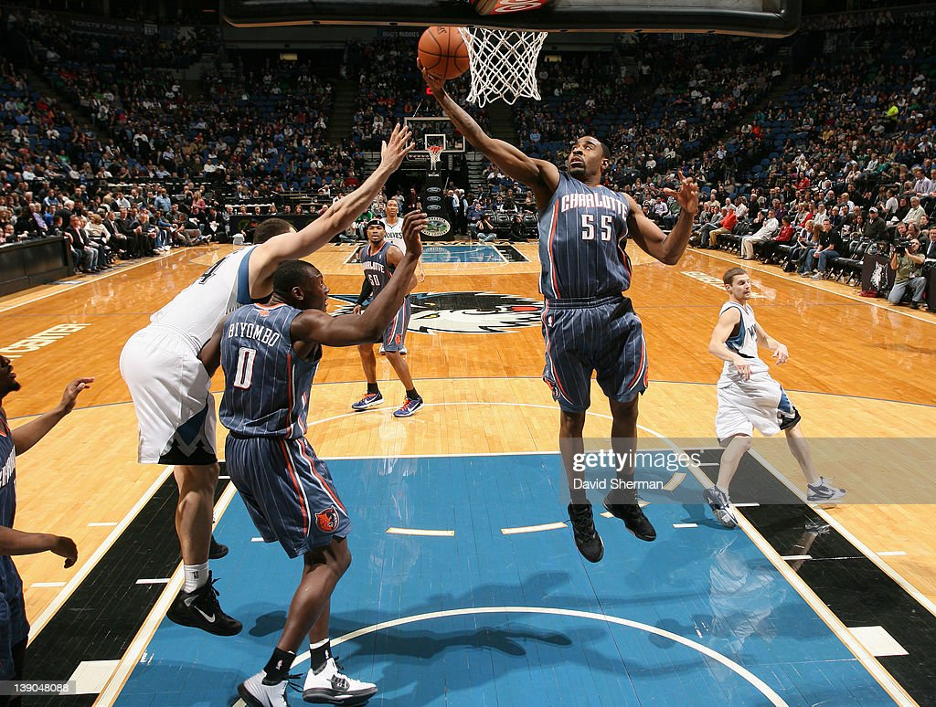 Reggie Williams #55 of the Charlotte Bobcats reaches for a rebound during the game against the Minnesota Timberwolves on February 15, 2012 at Target Center in Minneapolis, Minnesota.