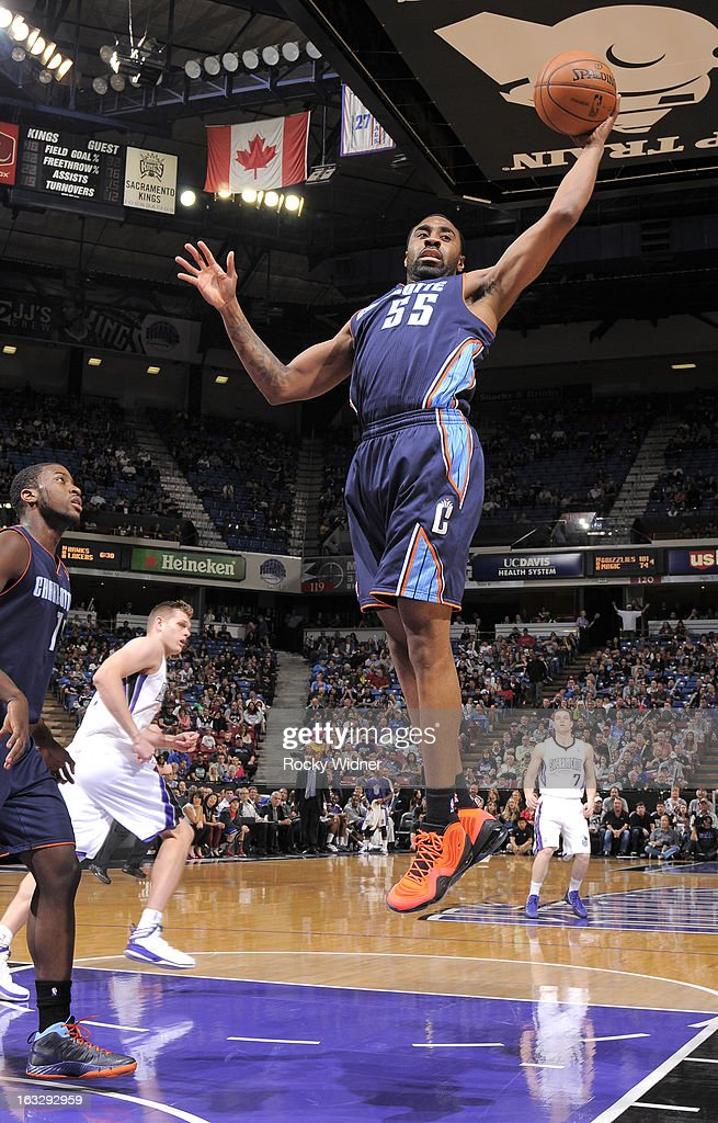 Reggie Williams #55 of the Charlotte Bobcats rebounds against the Sacramento Kings on March 3, 2013 at Sleep Train Arena in Sacramento, California.