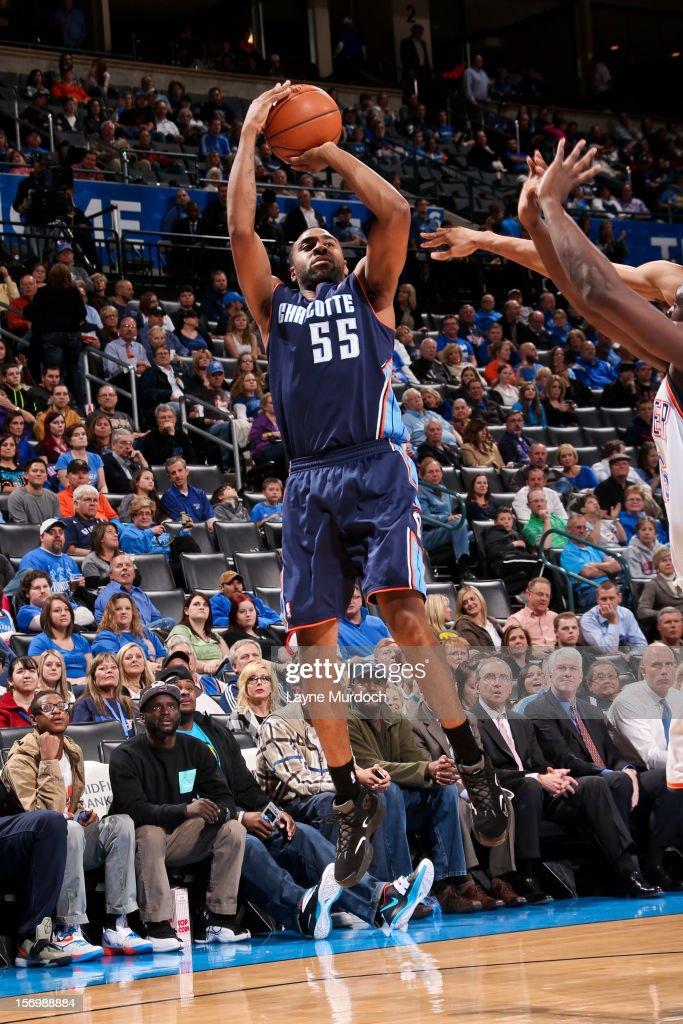 Reggie Williams #55 of the Charlotte Bobcats shoots against the Oklahoma City Thunder on November 26, 2012 at the Chesapeake Energy Arena in Oklahoma City, Oklahoma.