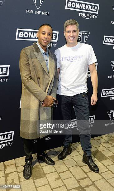 Reggie Yates and Nick Bloor attend the Global Triumph Bonneville launch on October 28 2015 in London England