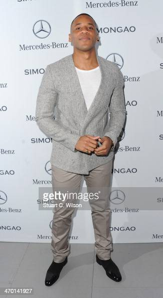 Reggie Yates arrives for the MercedesBenz Simon Gao A/W 2014 Show at Somerset House on February 18 2014 in London England