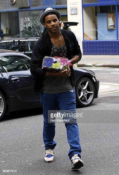 Reggie Yates arriving at Radio One with a present for Fearne Cotton on her Last Sunday Chart Show on September 20 2009 in London England