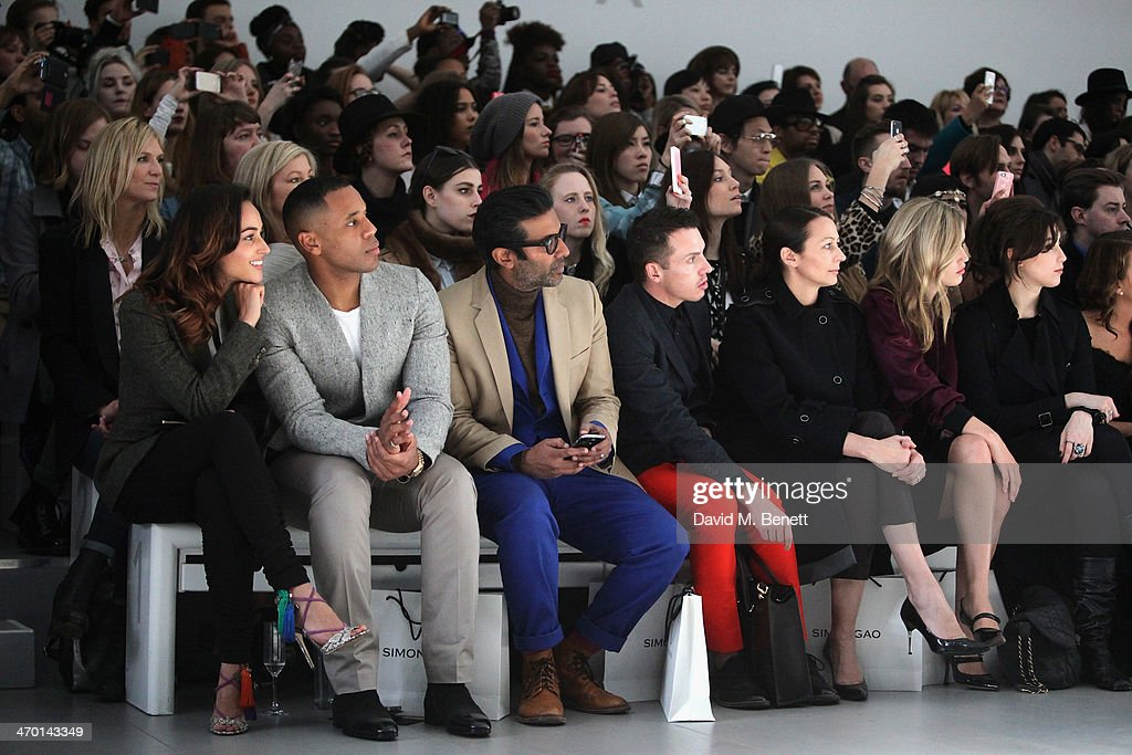 Reggie Yates Nihal Arthanayake guest Caroline Rush Georgia May Jagger Daisy Lowe Lydia Bright and Zoe Hardman attend the MercedesBenz Simon Gao A/W...