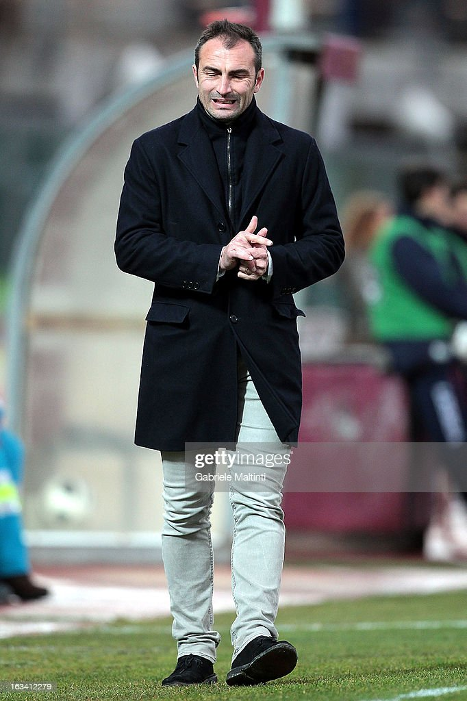 Reggina head coach Stefano Dionigi gestures during the Serie B match between AS Livorno and Reggina Calcio at Stadio Armando Picchi on March 9, 2013 in Livorno, Italy.