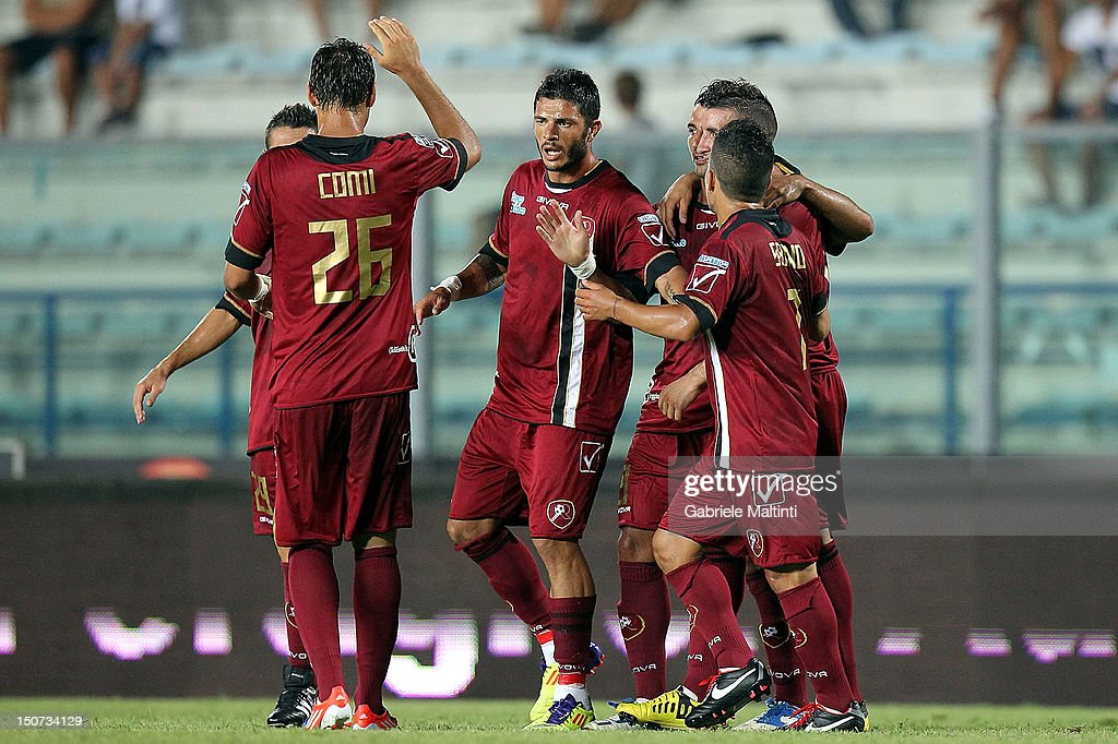 Reggina players celebrate a goal scored by Giovanni Fabio Ceravolo during the Serie B match between Empoli FC and Reggina Calcio at Stadio Carlo...