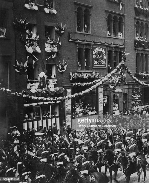 A regiment of lancers in Queen Victoria's Diamond Jubilee procession on Borough High Street London on their return to Buckingham Palace after a...