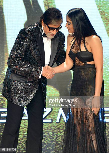 Regina Cassandra and Amitabh Bachchan during the announcement of film Aankhen 2 in Mumbai