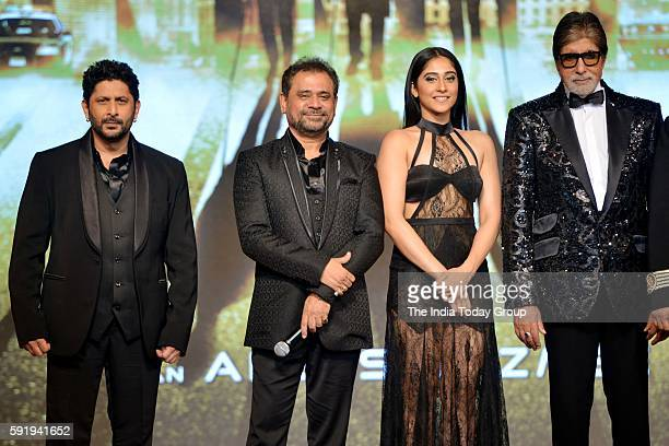 Regina Cassandra Anees Bazmee Arshad Warsi and Amitabh Bachchan during the announcement of film Aankhen 2 in Mumbai