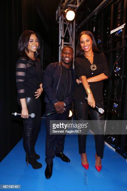 Regina Hall Kevin Hart and Joy Bryant visit 106 Park at BET studio on February 4 2014 in New York City