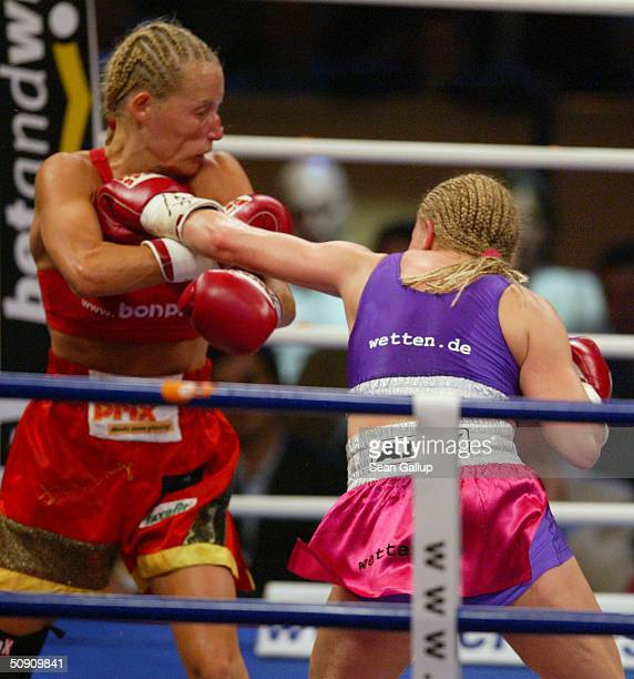 Regina Halmich and Daisy Lang battle in their 10round match in the IWBF Junior Bantam Women's World Boxing Championship Match on May 29 2004 at the...