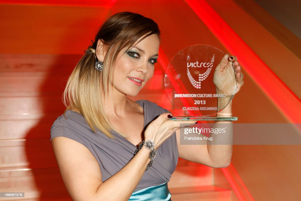 Regina Halmich receives an award at the Victress Day Gala 2013 at the MOA Hotel on April 8, 2013 in Berlin, Germany.