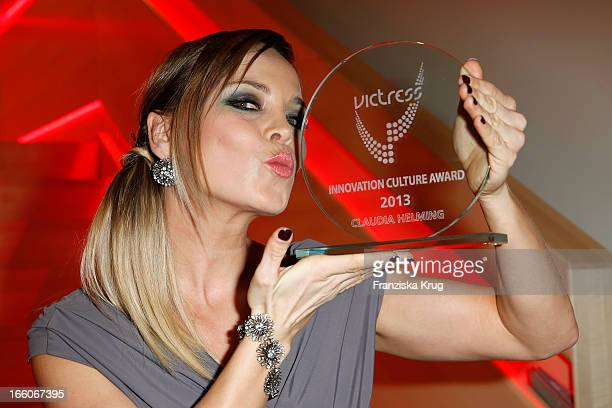 Regina Halmich receives an award at the Victress Day Gala 2013 at the MOA Hotel on April 8 2013 in Berlin Germany