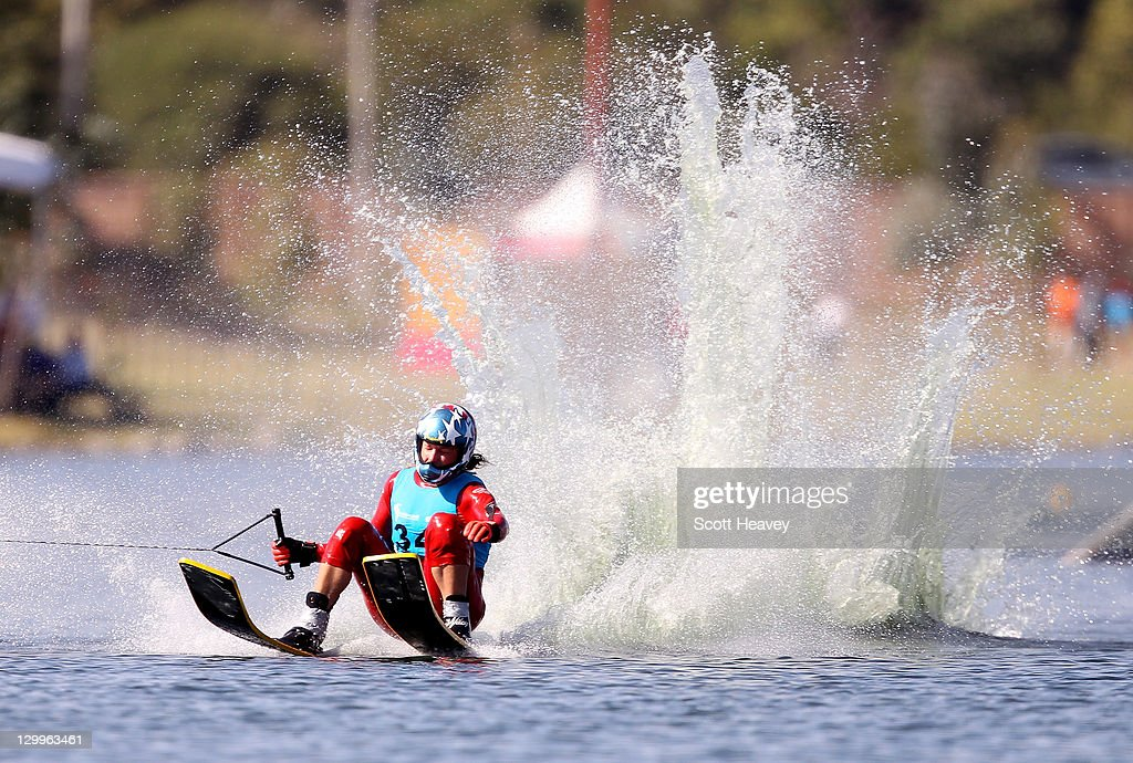 Regina Jaquess of the USA lands a new World Record in the Women's Overall at Boca Laguna Water Ski Club during Day Eight of the XVI Pan American Games on October 22, 2011 in Guadalajara, Mexico.