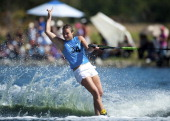 Regina Jaquess of USA in action during the women's overall final of the water skiing competition as part of the Pan American Games Guadalajara 2011...