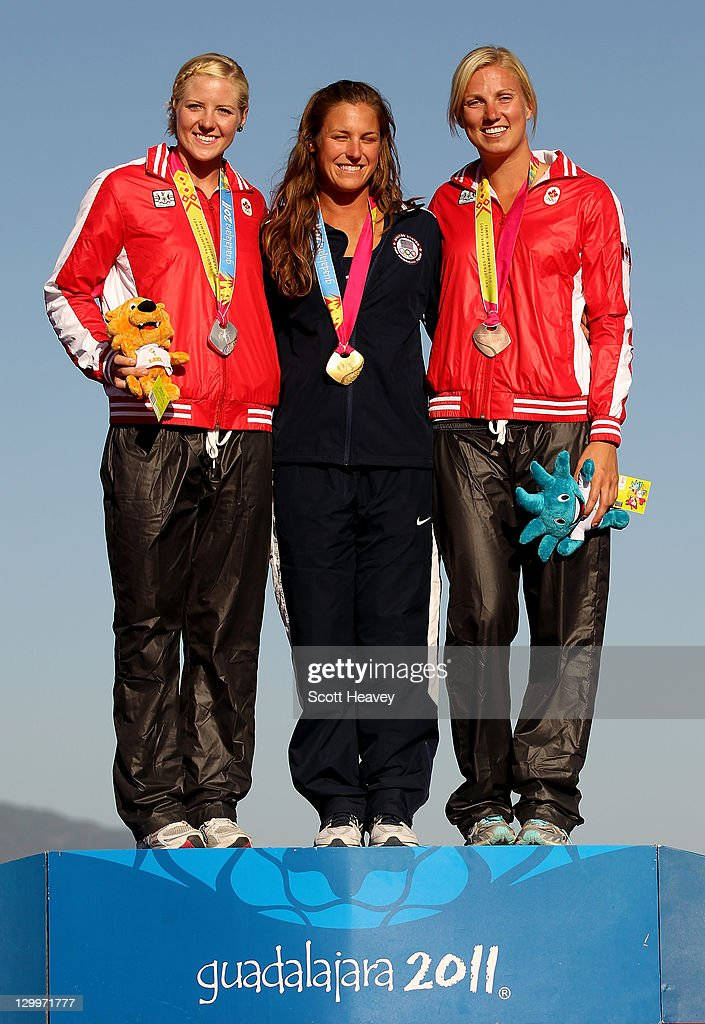 Regina Kathryn Jaquess of the USA (C) with Whitney Amanda McClintock (L) and Karen Irene Stevens of Canada on the podium after the Women's Overall at Boca Laguna Water Ski Club during Day Eight of the XVI Pan American Games on October 22, 2011 in Guadalajara, Mexico.