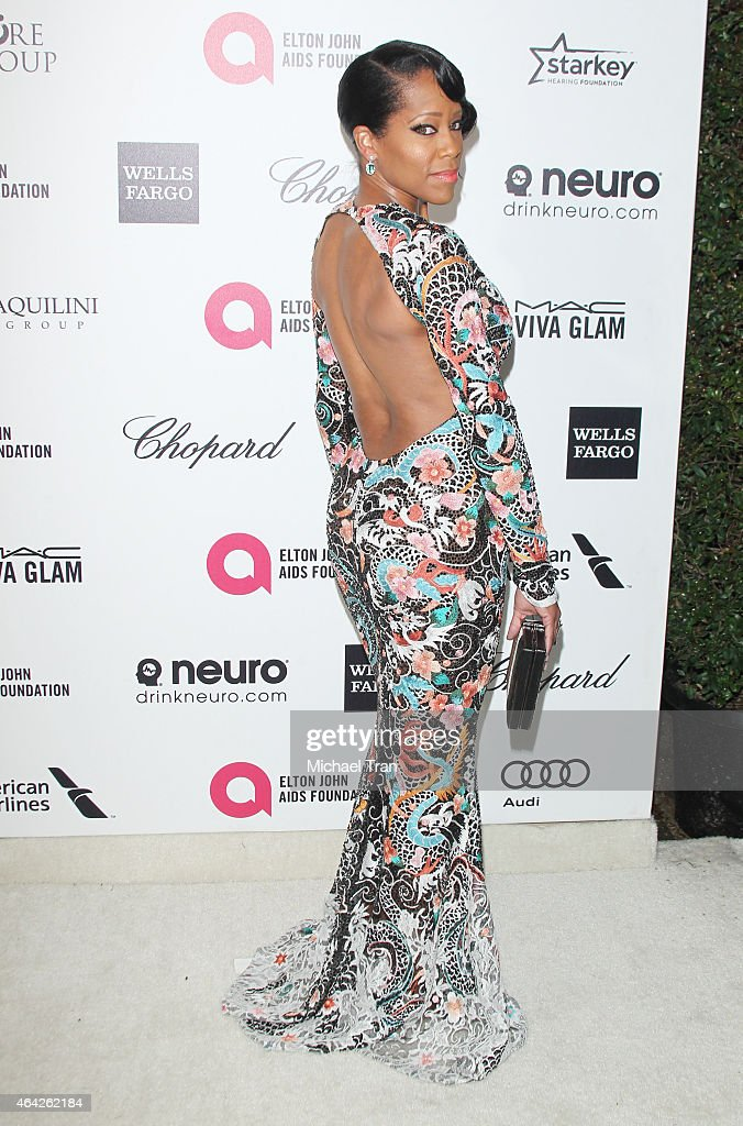 <a gi-track='captionPersonalityLinkClicked' href=/galleries/search?phrase=Regina+King&family=editorial&specificpeople=202510 ng-click='$event.stopPropagation()'>Regina King</a> arrives at the 23rd Annual Elton John AIDS Foundation Academy Awards viewing party held at The City of West Hollywood Park on February 22, 2015 in West Hollywood, California.