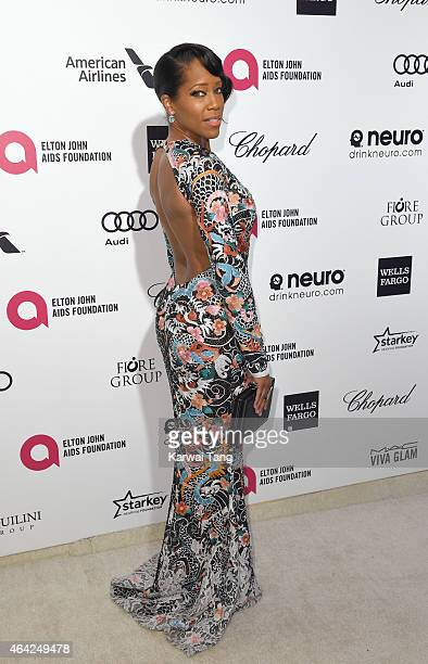 Regina King attends the Elton John AIDS Foundation's 23rd annual Academy Awards Viewing Party at The City of West Hollywood Park on February 22 2015...