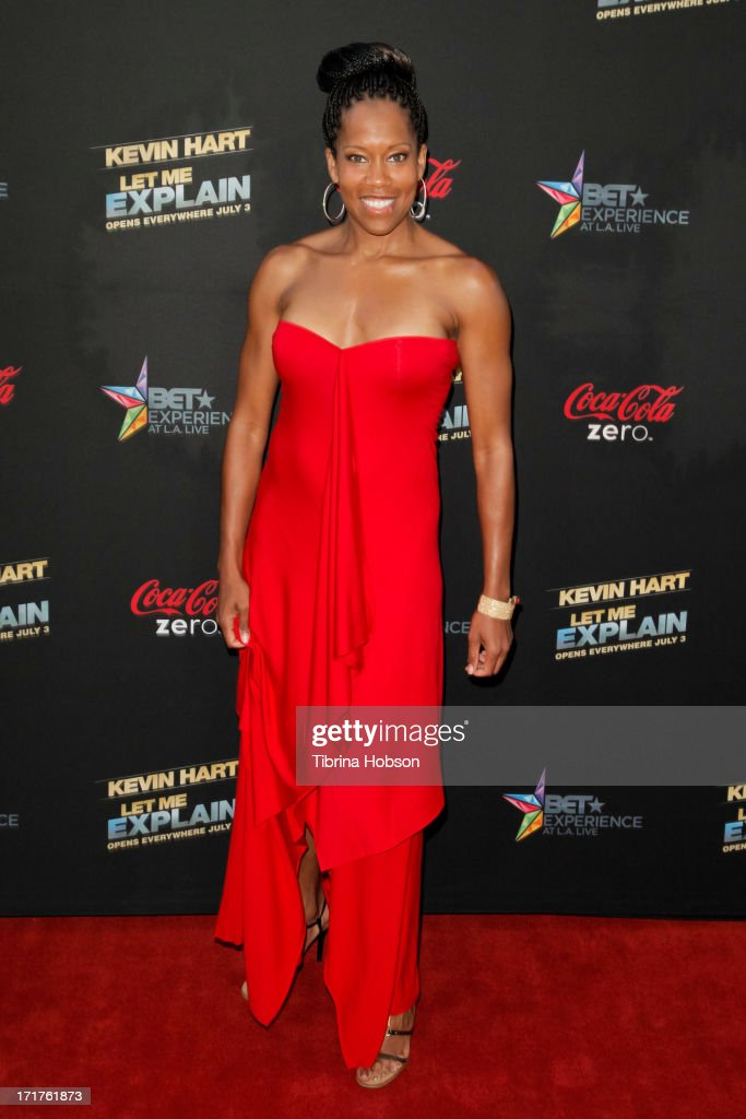 <a gi-track='captionPersonalityLinkClicked' href=/galleries/search?phrase=Regina+King&family=editorial&specificpeople=202510 ng-click='$event.stopPropagation()'>Regina King</a> attends the 'Kevin Hart: Let Me Explain' Los Angeles premiere at Regal Cinemas L.A. Live on June 27, 2013 in Los Angeles, California.