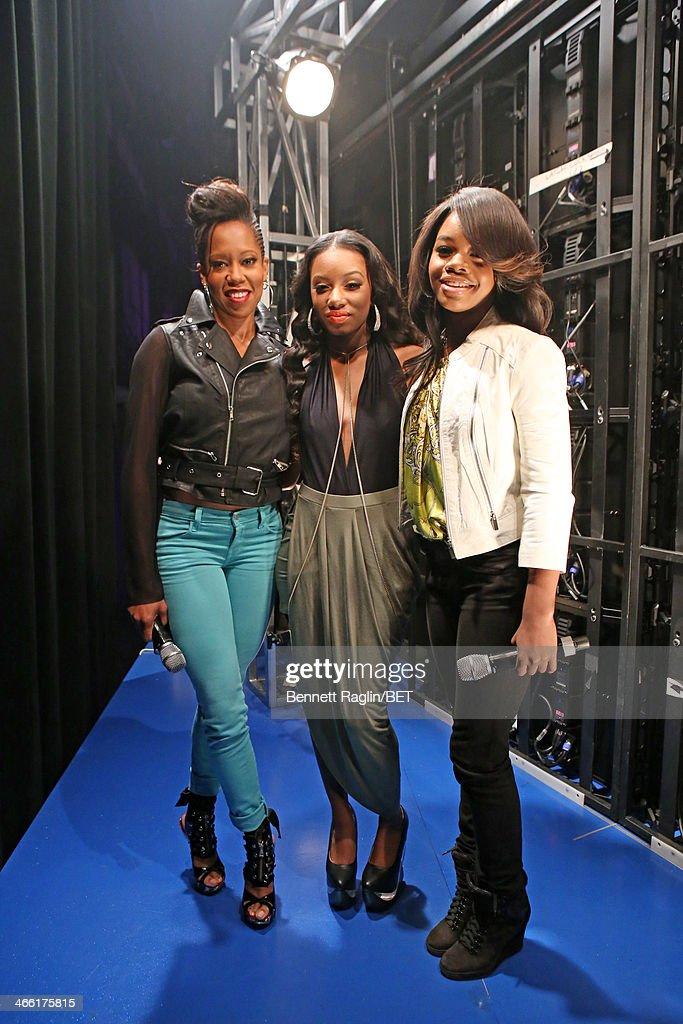 Regina King, Imani Hakim, and Gabby Douglas visit 106 & Park at BET studio on January 30, 2014 in New York City.