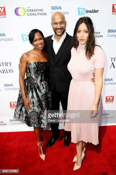 Regina King KeeganMichael Key and Chloe Bennet at the Television Industry Advocacy Awards at TAO Hollywood on September 16 2017 in Los Angeles...
