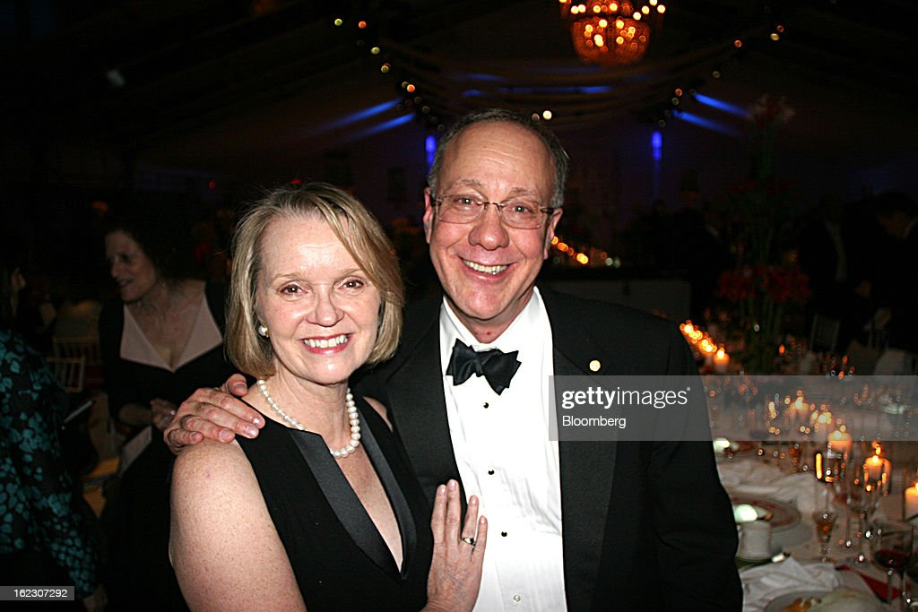 Regina Myerson, left, and Roger Myerson, a 2007 Nobel Laureate in Economic Sciences, attend the opening gala of Nordic Cool 2013 festival at the Kennedy Center in Washington, D.C., U.S., on Tuesday, Feb. 19, 2013. The Nordic Cool festival, which runs through March 17, celebrates the cultures of Denmark, Finland, Sweden, Norway and Iceland through live performances, films, panels, along with art, fashion and design exhibitions at the Kennedy Center. Photographer: Stephanie Green/Bloomberg via Getty Images