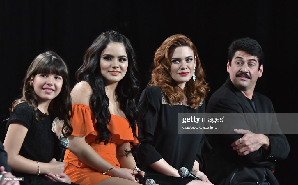 Regina Orquin,Samadhi Zendejas,Angelica Celaya and Gabriel Porras are seen at the introduction of the cast of 'Jenni Rivera: Mariposa de Barrio' at Telemundo Studios on March 13, 2017 in Miami, Florida.