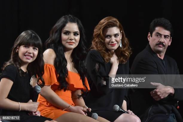 Regina OrquinSamadhi ZendejasAngelica Celaya and Gabriel Porras are seen at the introduction of the cast of 'Jenni Rivera Mariposa de Barrio' at...