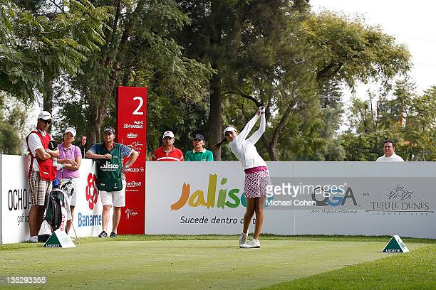 Regina Plasencia of Mexico hits her drive on the second tee box during the second round of the Lorena Ochoa Invitational Presented by Banamex and...