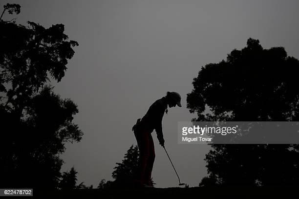 Regina Plasencia of Mexico putts the ball during the Lorena Ochoa Invitational 2016 at Club de Golf on November 11 2016 in Mexico City Mexico