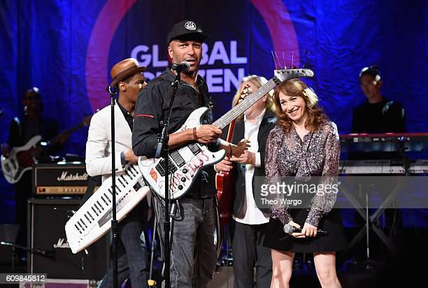 Regina Spektor Tom Morello Warren Haynes and Jon Batiste Stay Human perform onstage during Global Citizen The World On Stage at NYU Skirball Center...