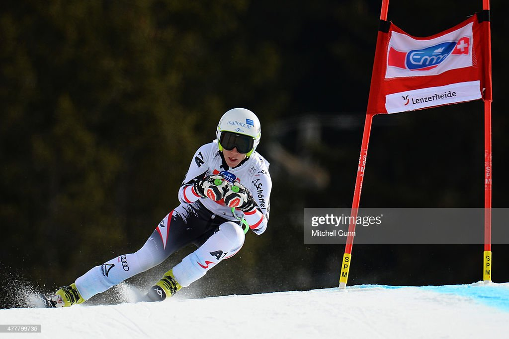 <a gi-track='captionPersonalityLinkClicked' href=/galleries/search?phrase=Regina+Sterz&family=editorial&specificpeople=10018281 ng-click='$event.stopPropagation()'>Regina Sterz</a> of Austria competing in the Audi FIS Alpine Skiing World Cup Finals downhill training on March 11, 2014 in Lenzerheide, Switzerland.
