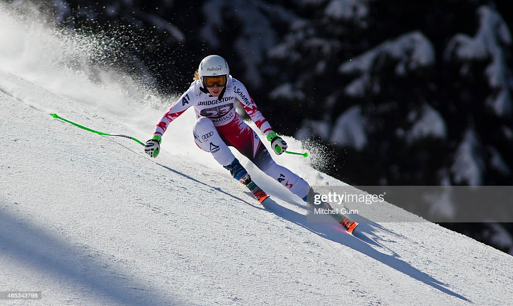 <a gi-track='captionPersonalityLinkClicked' href=/galleries/search?phrase=Regina+Sterz&family=editorial&specificpeople=10018281 ng-click='$event.stopPropagation()'>Regina Sterz</a> of Austria races down the Kandahar course during the Audi FIS Alpine Ski World Cup downhill training on March 06 2015 in Garmisch-Partenkirchen, Germany.