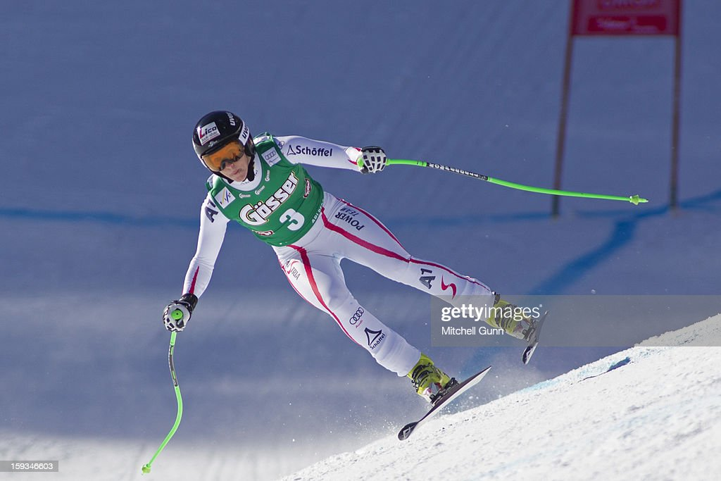 Regina Sterz of Austria races down the Kandahar course whilst competing in the Audi FIS Alpine Ski World Cup downhill race on January 12, 2013 in St Anton, Austria.