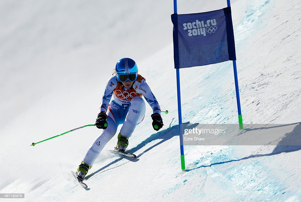 <a gi-track='captionPersonalityLinkClicked' href=/galleries/search?phrase=Regina+Sterz&family=editorial&specificpeople=10018281 ng-click='$event.stopPropagation()'>Regina Sterz</a> of Austria skis during training for the Alpine Skiing Women's Downhill ahead of the Sochi 2014 Winter Olympics at Rosa Khutor Alpine Center on February 6, 2014 in Sochi, Russia.