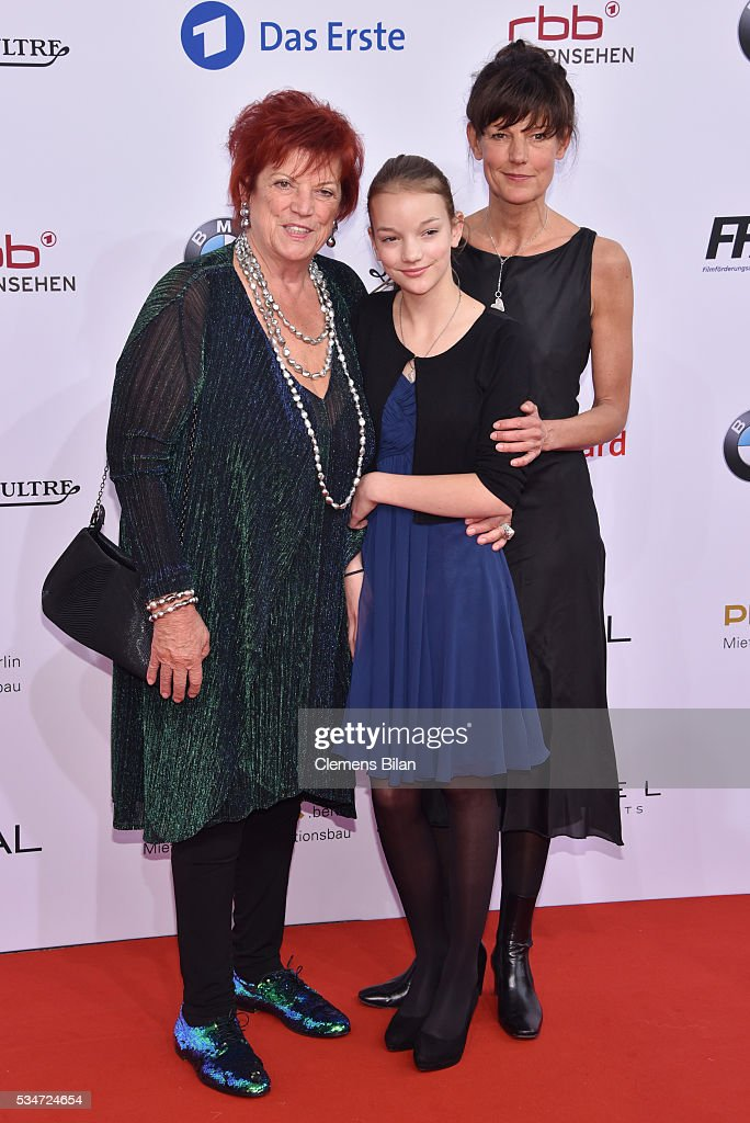 Regina Ziegler (L), her daugher Tanja Ziegler (R) and granddaughter attend the Lola - German Film Award (Deutscher Filmpreis) on May 27, 2016 in Berlin, Germany.