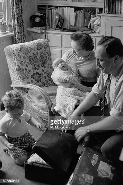 Reginald and Kathleen Thackeray at home in Fulwell Park Avenue in Twickenham Greater London 29th August 1958 They are pictured with an older boy and...