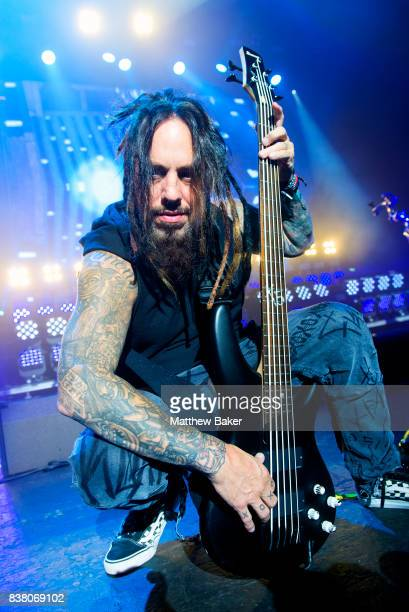 Reginald Arvizu of Korn performs at Brixton Academy on August 23 2017 in London England
