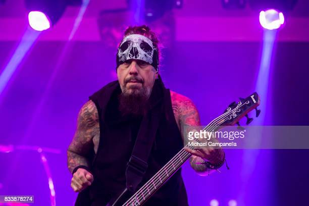 Reginald Arvizu of the American band Korn performs in concert at Grona Lund on August 17 2017 in Stockholm Sweden