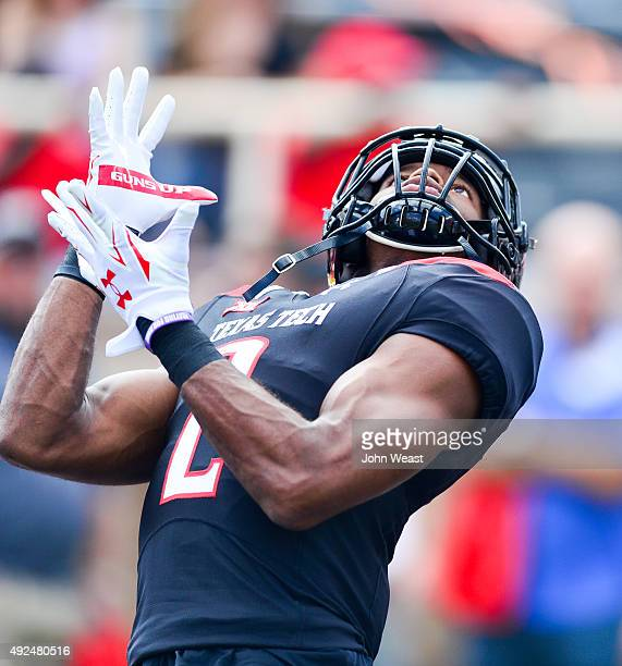 Reginald Davis of the Texas Tech Red Raiders warming up prior to the game against the Iowa State Cyclones on October 10 2015 at Jones ATT Stadium in...