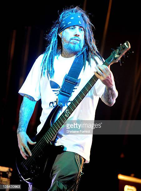 Reginald 'Fieldy' Arvizu of Korn performs at Manchester Apollo on October 10 2010 in Manchester England