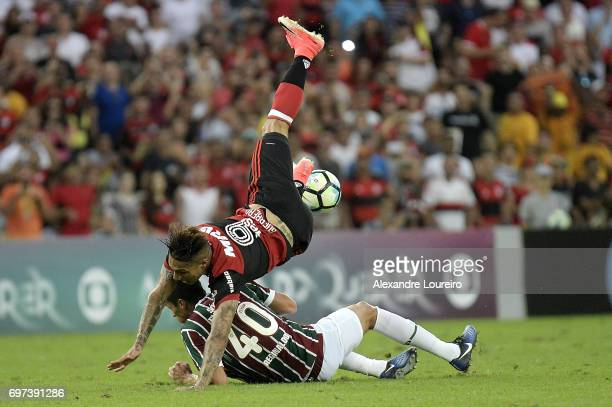 Reginaldo of Fluminense battles for the ball with Guerrero of Flamengo during the match between Fluminense and Flamengo as part of Brasileirao Series...