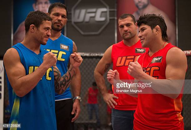 Reginaldo Viera and Dileno Lopes face off before they face each other in the finals during the filming of The Ultimate Fighter Brazil Team Nogueira...