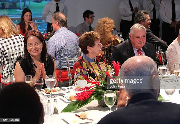 Regine Chan Dr Carol Damian and Vincent Damian attend Simon Ma's World Tour Exhibition 'Heart Water Ink' US Premiere At The Patricia And Phillip at...