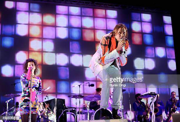 Regine Chassagne and Win Butler of Arcade Fire perform on stage during the second day of Primavera Sound 2014 at Parc Del Forum on May 29 2014 in...