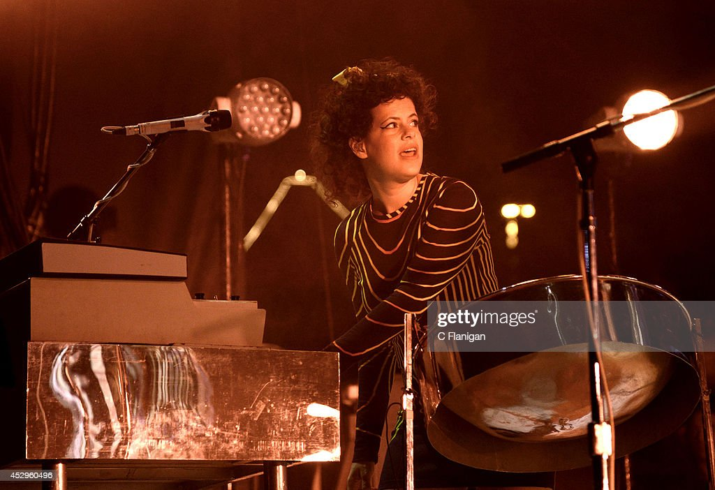 <a gi-track='captionPersonalityLinkClicked' href=/galleries/search?phrase=Regine+Chassagne&family=editorial&specificpeople=2220914 ng-click='$event.stopPropagation()'>Regine Chassagne</a> of Arcade Fire performs during the North American return of their Reflektor Tour at Shoreline Amphitheatre on July 30, 2014 in Mountain View, California.