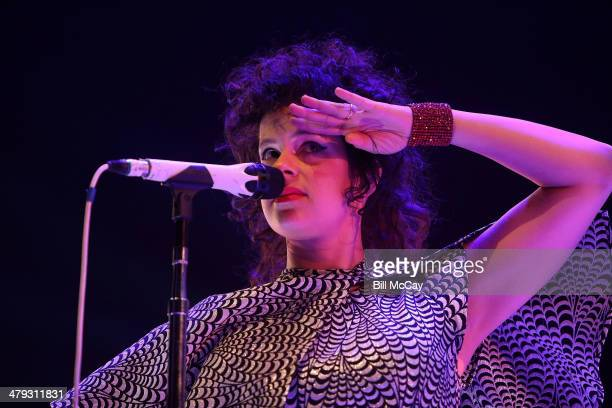 Regine Chassagne of Arcade Fire performs live at the Wells Fargo Center March 17 2014 in Philadelphia Pennsylvania