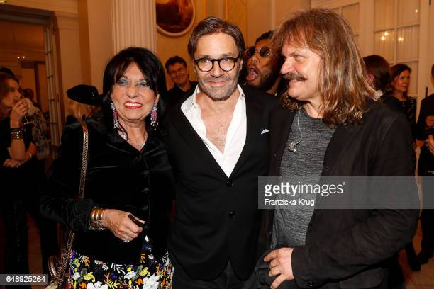 Regine Sixt Al Di Meola Leslie Mandoki attend the Man Doki Soulmates Wings Of Freedom Concert in Berlin on March 6 2017 in Berlin Germany
