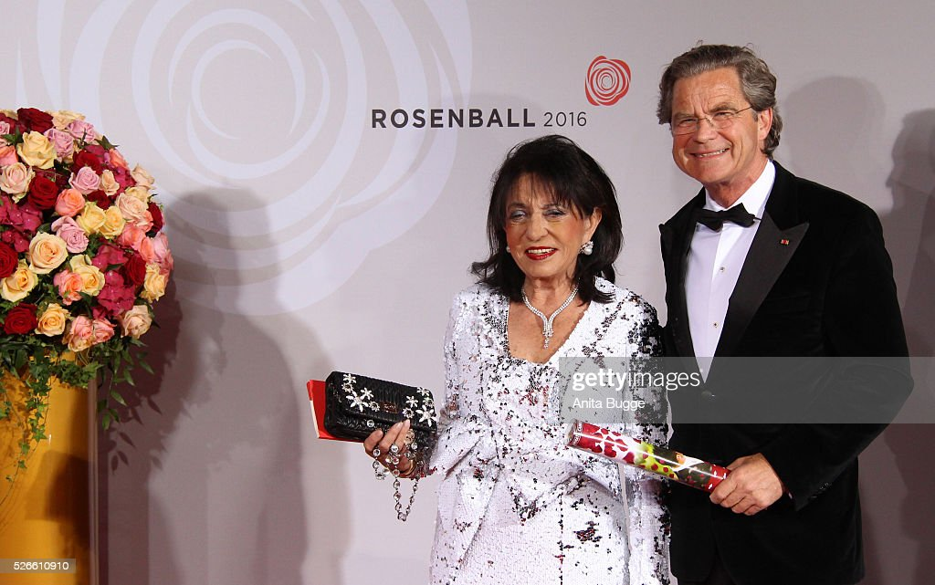 Regine Sixt and Florian Langenscheidt attend the charity event 'Rosenball' at Hotel Intercontinental on April 30, 2016 in Berlin, Germany.