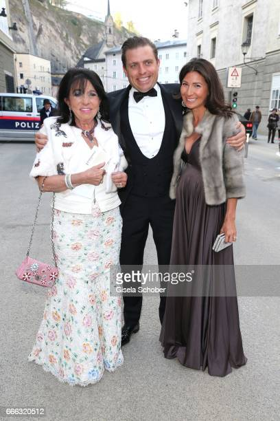 Regine Sixt and her son Konstantin Sixt and his pregnant wife Noni Sixt during the opening of the Easter Festival 2017 'Walkuere' opera premiere on...